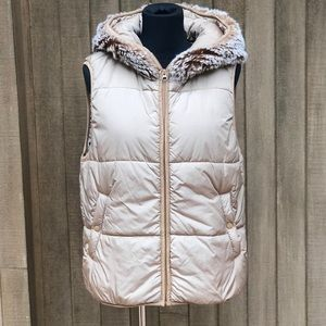 Dylan Hooded Puffer Vest Faux Fur Collar Large